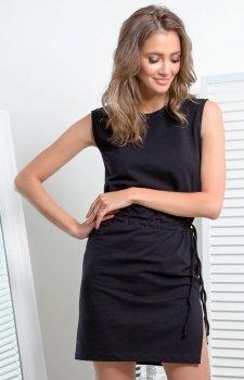 Prosta dzianinowa sukienka czarna I337