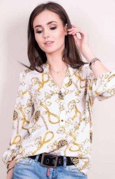 Kolorowa bluzka z dekoltem łańcuchy 0056
