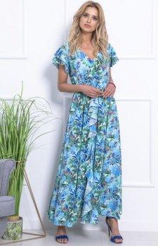 Niebiesko-zielona sukienka maxi w kwiaty F719