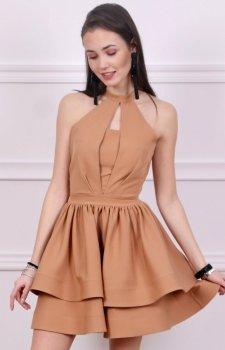 Rozkloszowana sukienka karmelowa Roco 0202