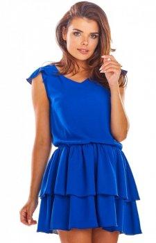Rozkloszowana mini sukienka chabrowa A291