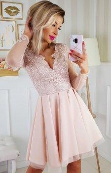 Koronkowa sukienka z tiulowymi rękawami beż