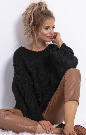 Ciepły oversizowy sweter czarny F776