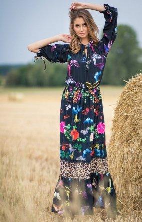 *Sukienka maxi w motyle F757