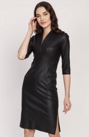 Skórzana sukienka czarna SUK178