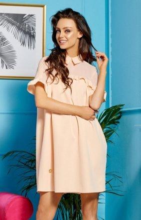 *Oversizowa sukienka z kołnierzykiem łososiowa L307