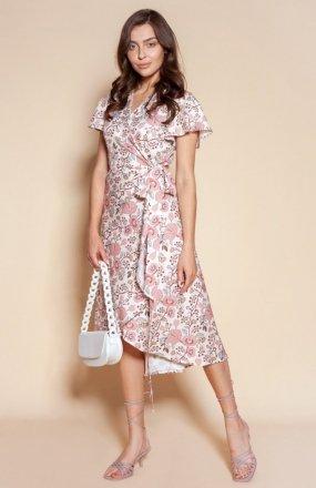 Kopertowa sukienka z asymetrycznym dołem różowa SUK198