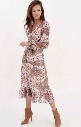 *Sukienka midi z falbaną w kwiatuszki 0241/D96