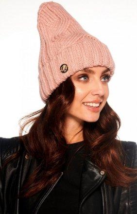 Klasyczna czapka na zimę pudrowa LC112