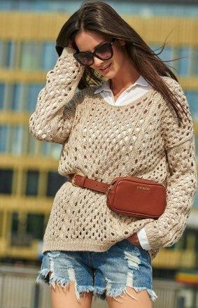 Ażurkowy sweter beżowy S59