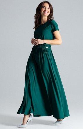 Długa sukienka na co dzień zielona L042
