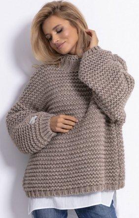 Ciepły sweter alpaka mocca F790