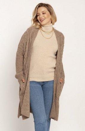 MKM PA008 swetrowy płaszcz mocca