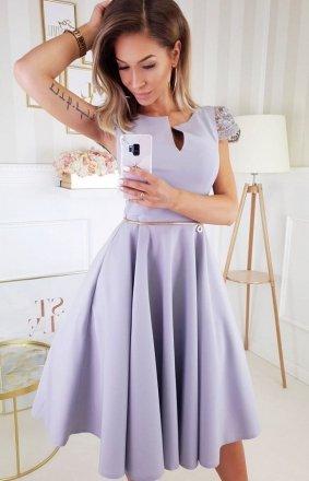 Koktajlowa sukienka midi szara 2212-03