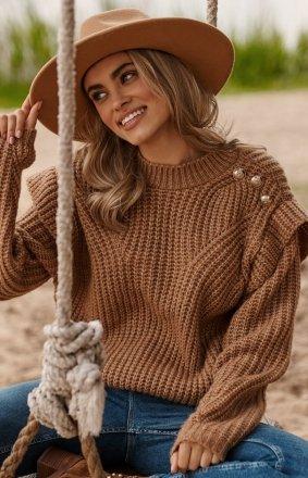 Damski sweter z falbankami karmelowy S117