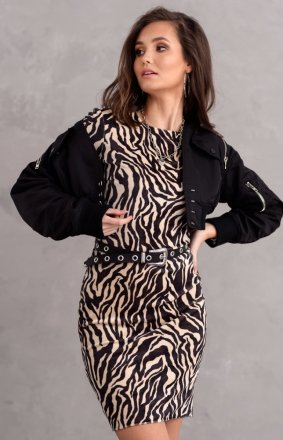 Welurowa mini sukienka zebra 0313/K05