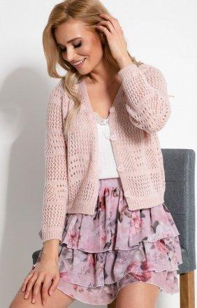 *Ażurowy sweterek zapinany na guziczki F907 różowy
