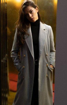 Szary dwurzędowy płaszcz damski M681
