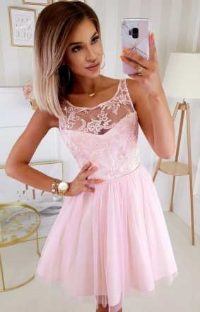 Koktajlowa sukienka z tiulem różowa 2207-12