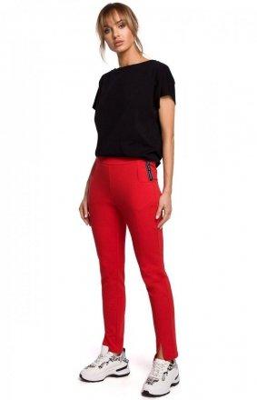 Dresowe spodnie z rozporkami czerwone M493