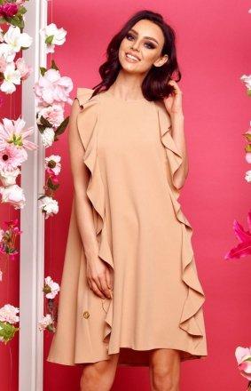 Oversizowa sukienka z falbanami beżowa L298