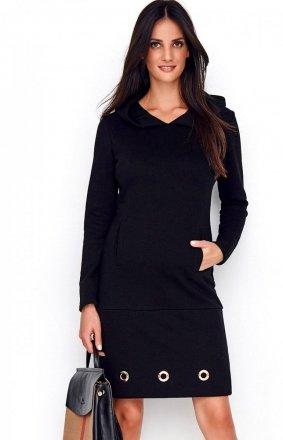 Dzienna sukienka z kapturem czarna NU218