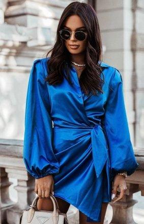 Elegancka satynowa sukienka chabrowa
