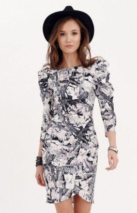 Ołówkowa sukienka z bufkami gazetowy wzór 0279