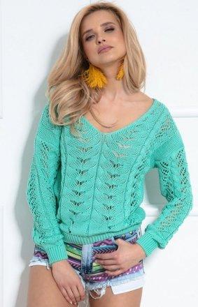 Lekki ażurowy sweterk zielony F1000