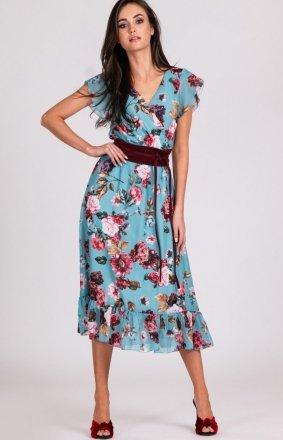Szyfonowa sukienka w kwiaty 0250/D11