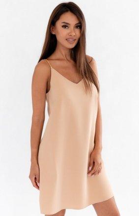 Elegancka sukienka na złotych ramiączkach beżowa