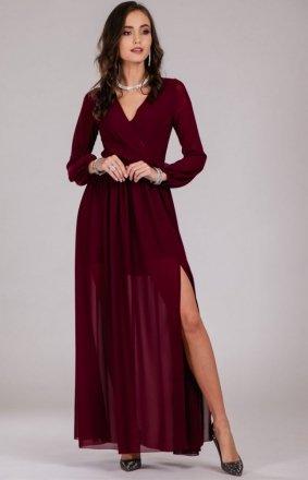Wieczorowa sukienka maxi bordowa 0257