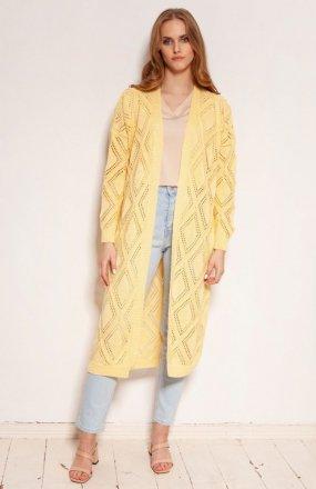 Długi ażurowy kardigan żółty SWE145