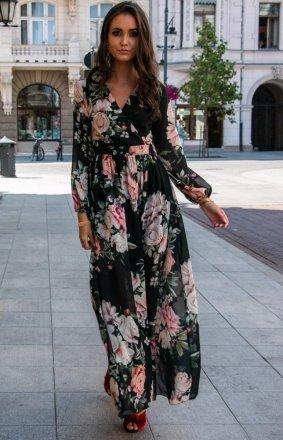 Stylowa sukienka maxi w kwiaty 0219/D37