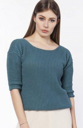 Sweter z dekoltem z przodu lub z tyłu morski SWE118
