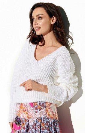 Oversizowy sweter z dekoltem biały LS292