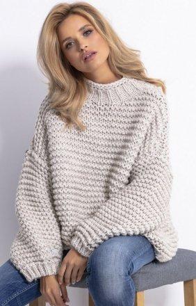 Ciepły sweter alpaka beż F790