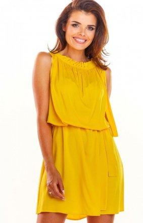 Zwiewna żółta letnia sukienka mini A284