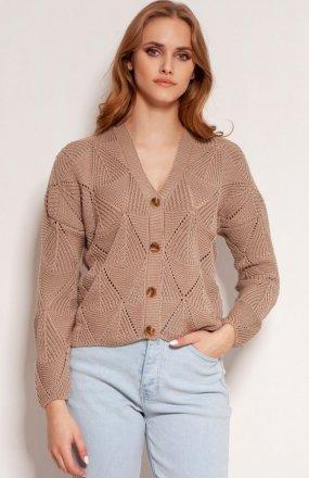 Ażurowy sweter na guziki mocca SWE143