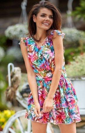 Mini sukienka letnia w kwiaty A312
