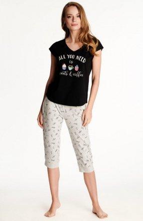 Henderson Ladies Westley 38262-99X piżama czarno-szara