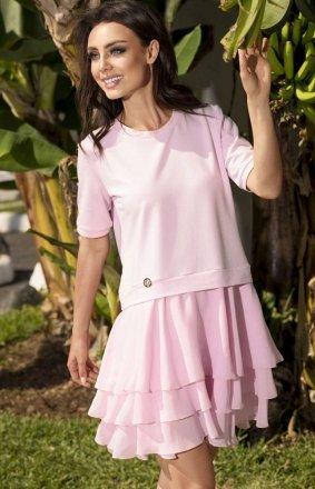 *Leminiade L244 zwiewna sukienka pudrowy róż