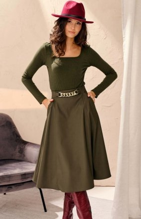 Midi spódnica damska z kieszeniami khaki 0040