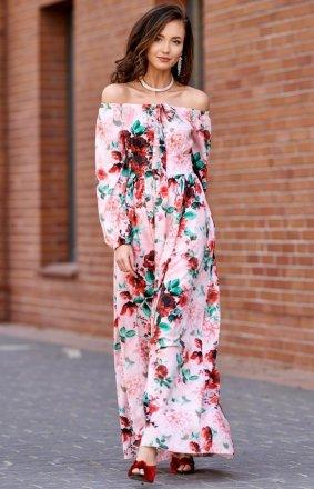 *Elegancka długa sukienka letnia w kwiatowy print 0245/S03