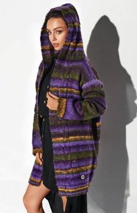 Ciepły sweter z kapturem fioletowy LSG103