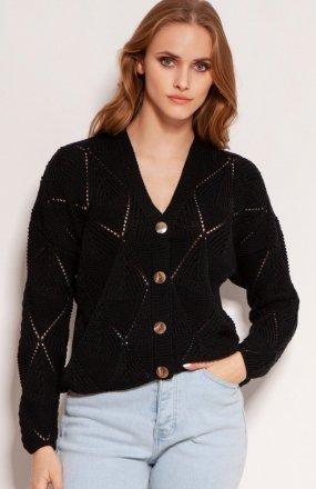 Ażurowy sweter na guziki czarny SWE143