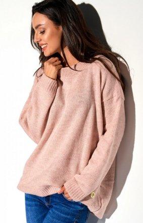 Oversizowy pudrowy róż sweter LS275