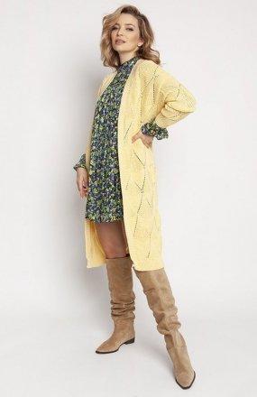 MKM PA011 dzianinowy płaszczyk żółty