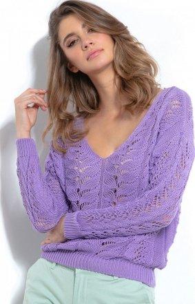 Lekki ażurowy sweterk fioletowy F1000