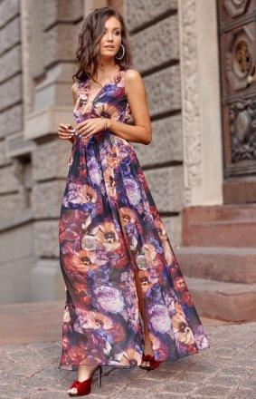 Szyfonowa długa sukienka letnia kolorowa 0209 R66
